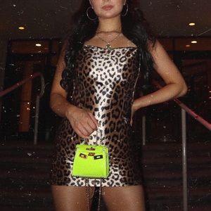 Fashion Nova Silk Leopard Open Back Dress